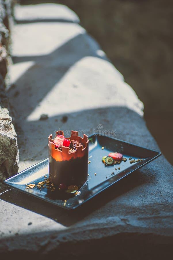 象塔的专属巧克力蛋糕用果子在黑色的盘子,法式蛋糕铺的,城堡的点心产品摄影服务 库存图片