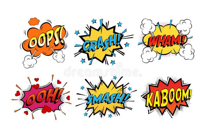 象声词在云彩的漫画声音情感的 向量例证