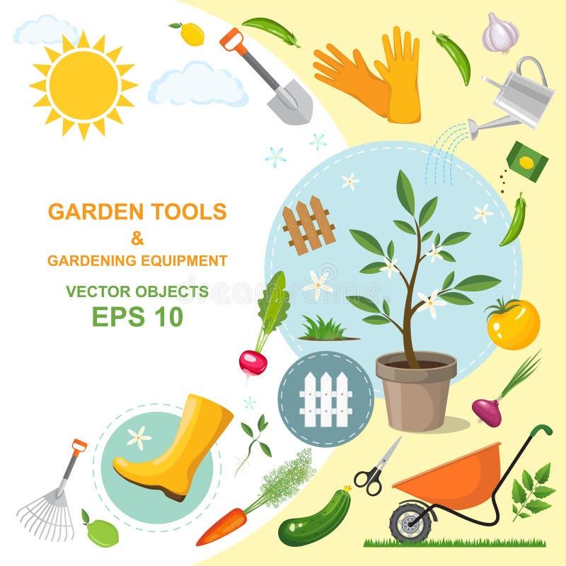 象套不同的亲切的园艺工具、设备、菜和植物 春天园艺五颜六色的设计  种植 库存例证