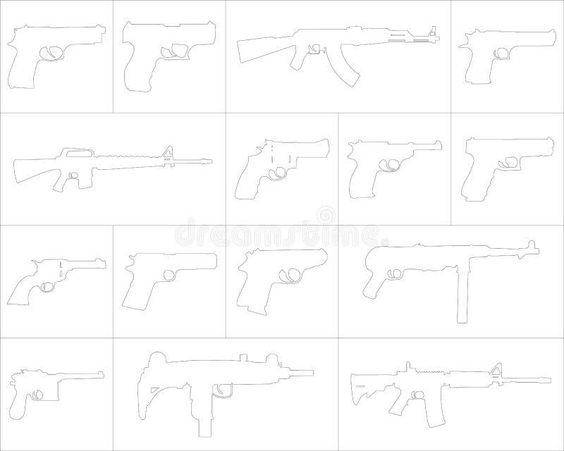 象套不同的武器 向量例证