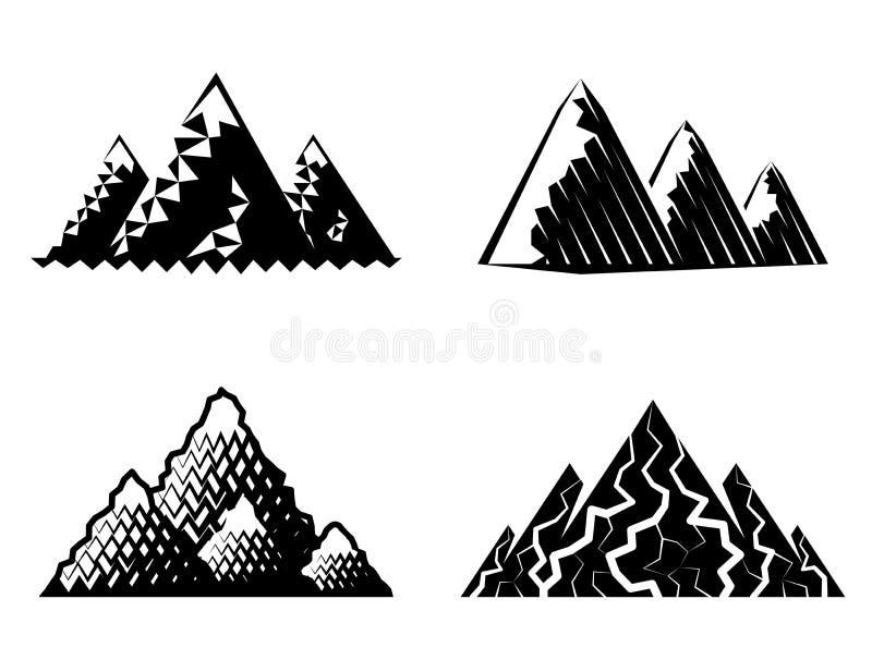 象套在黑白颜色的山 向量例证