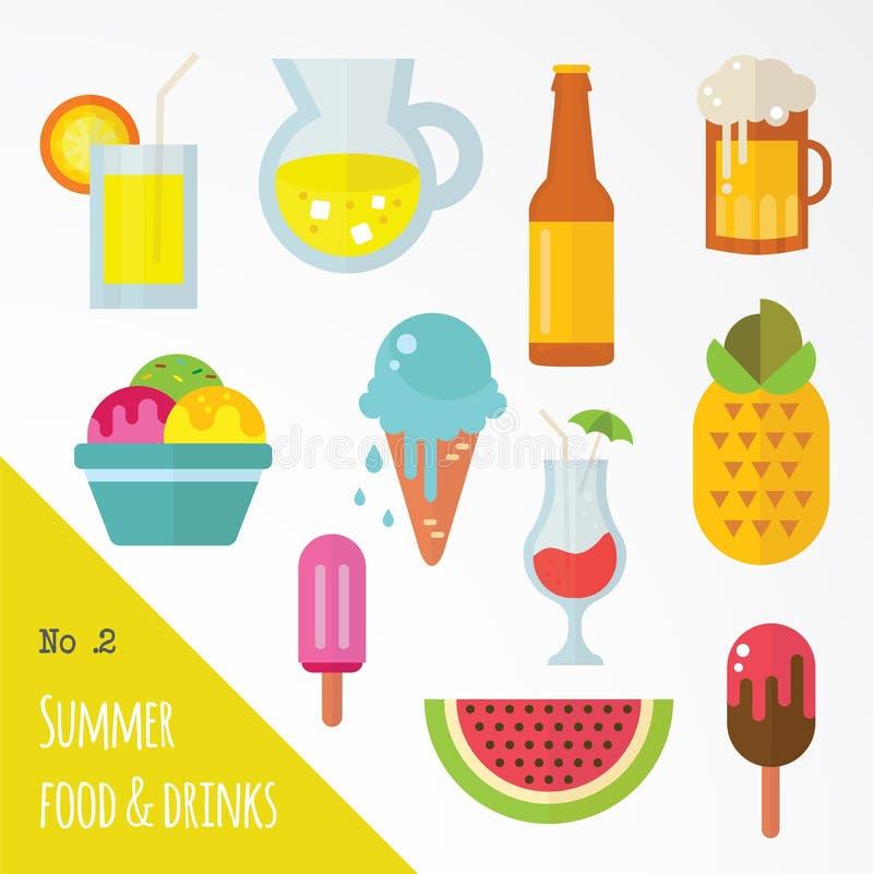 象套夏天食物和饮料 向量例证