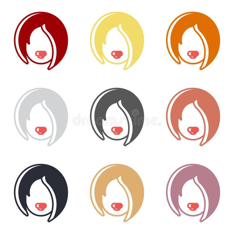象套有同样发型的女性头在不同颜色 库存照片