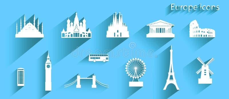 象套欧洲在蓝色背景的建筑学标志 库存例证