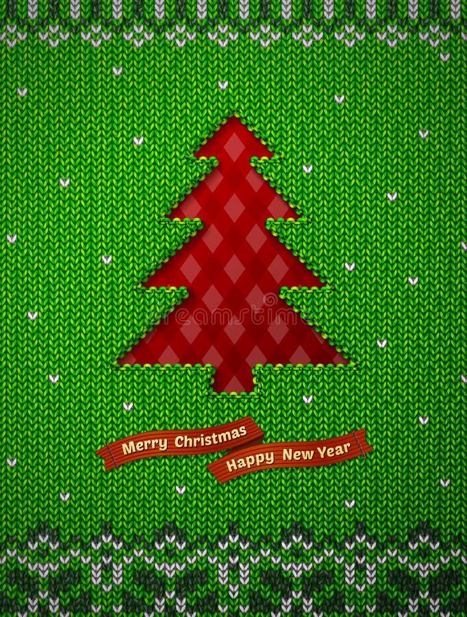 象孔的圣诞树在被编织的背景 皇族释放例证