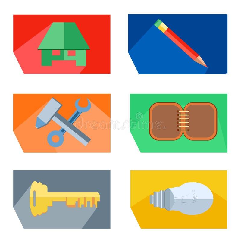 象安置,书写,工具,钥匙,电灯泡 库存例证