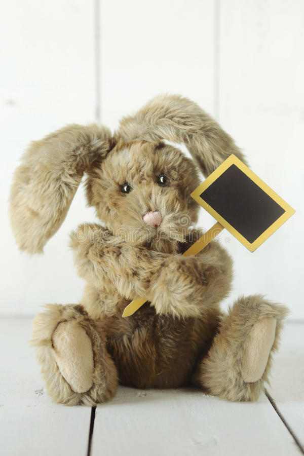 象家庭做的小兔的玩具熊在木白色Backgroun 免版税库存图片