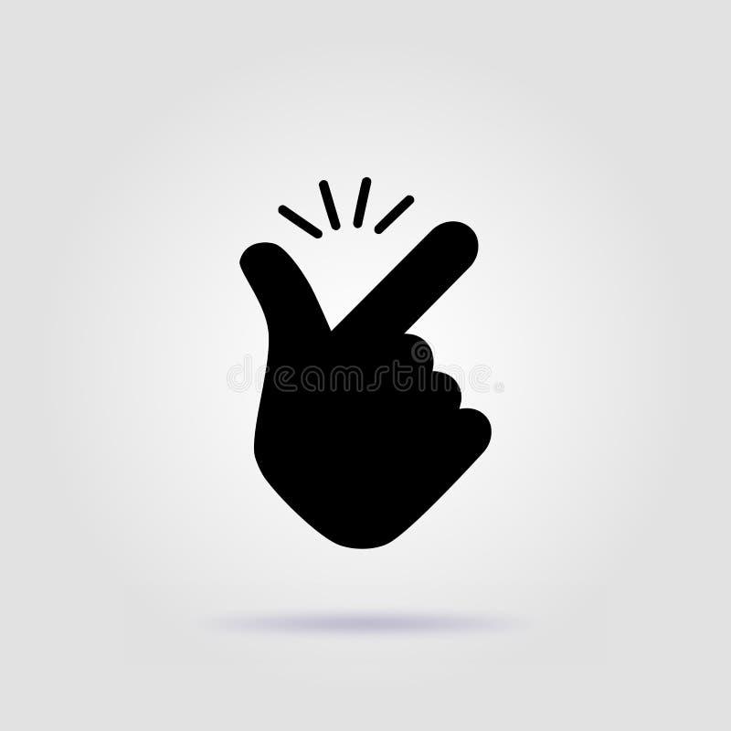 象容易的emoji商标黑色设计的短冷期手指 向量例证