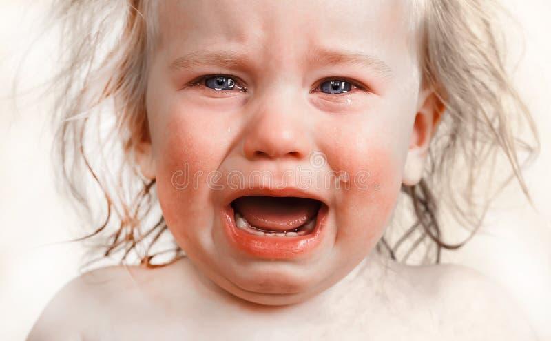 画象小婴孩哭泣的泪花情感地 库存图片