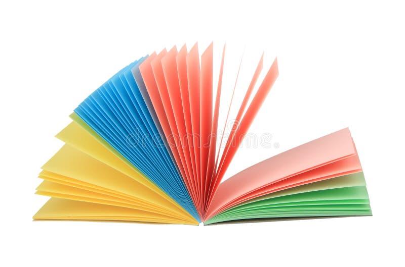 象开放多色的记事本的抽象风扇 免版税库存图片