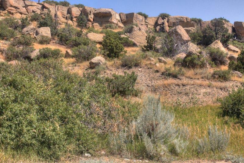 象形文字国家公园在布告外面,蒙大拿在夏天 免版税库存照片