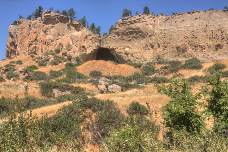 象形文字国家公园在布告外面,蒙大拿在夏天 库存图片