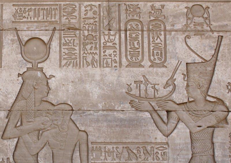 象形文字在DENDERA寺庙 库存照片
