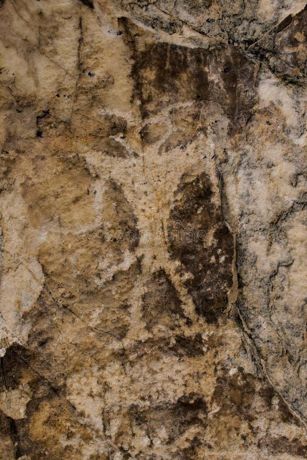 象形文字记载法,猎人的图 古老岩石绘画 库存图片