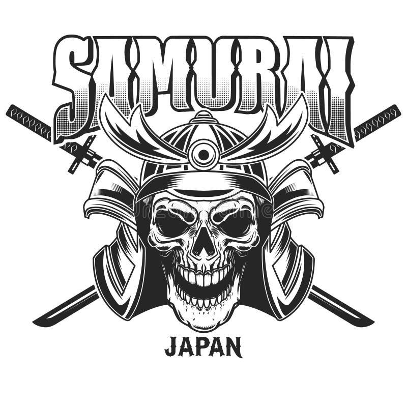 象征与武士盔甲的模板并且横渡了在难看的东西背景的katanas 商标的,标签,标志,海报,t设计元素 向量例证