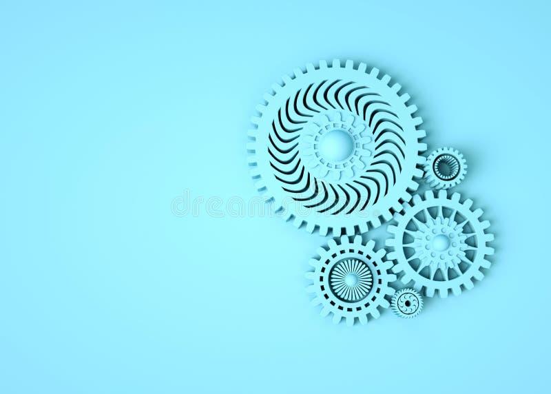 象征合作和配合的蓝色齿轮的构成 E ?? 最小的概念3d回报 库存例证