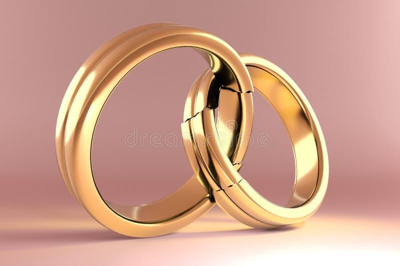 象征在两个人之间的婚戒团聚 皇族释放例证