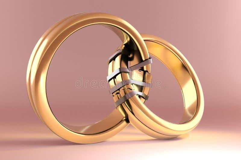 象征在两个人之间的婚戒团聚 向量例证