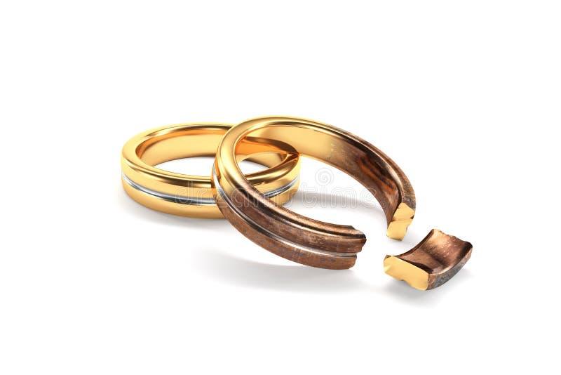 象征在两个人之间的婚戒离婚 库存例证