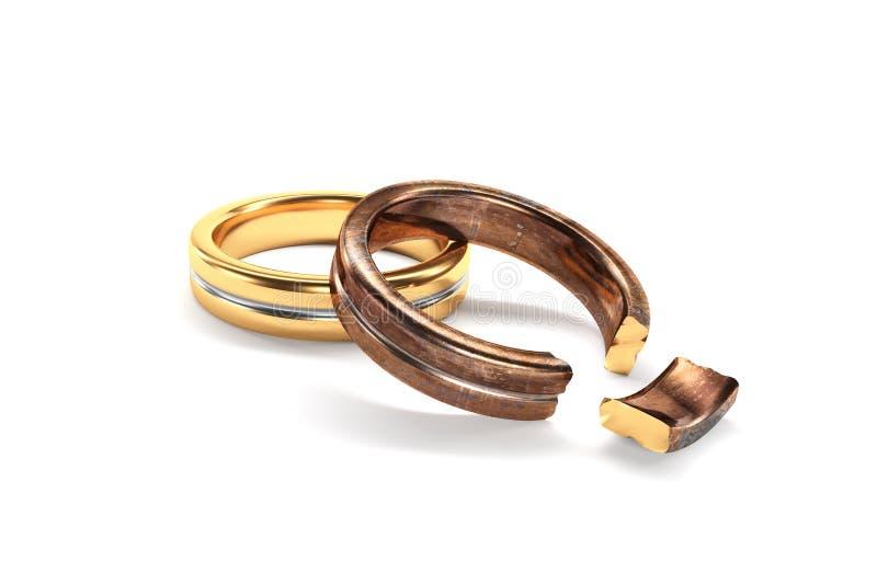 象征在两个人之间的婚戒离婚 向量例证