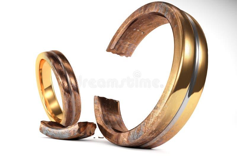 象征在两个人之间的生锈的婚戒离婚 皇族释放例证