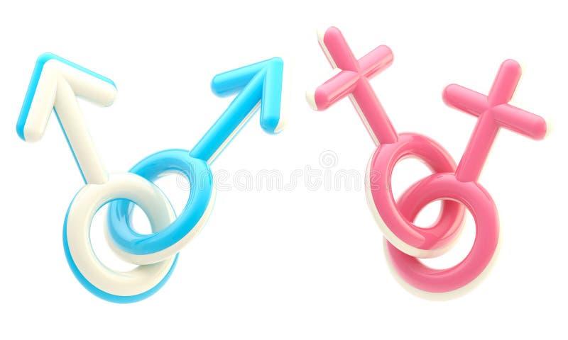 象征快乐女同性恋的符号 皇族释放例证