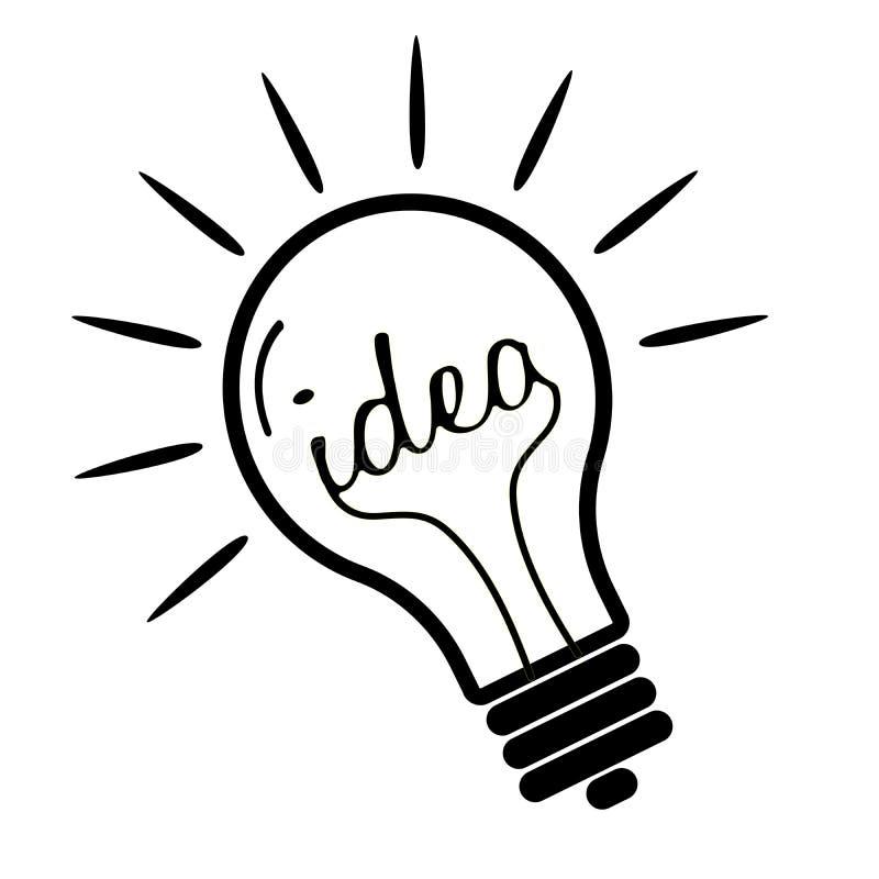 象征想法的简单的平的发光的电灯泡象 皇族释放例证