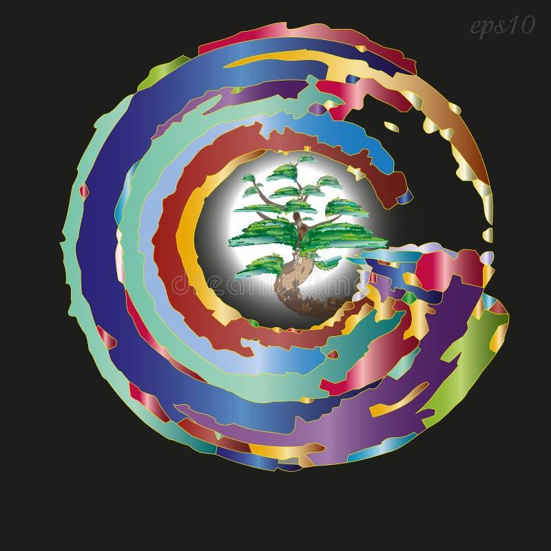 象征或商标树在圈子 向量例证