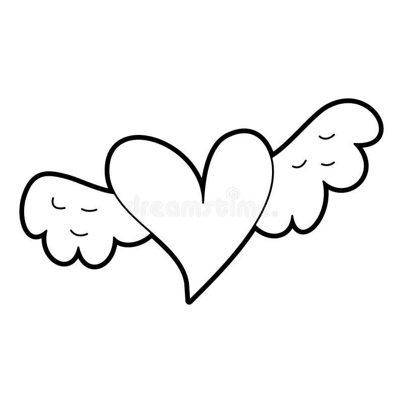 象征浪漫史和爱的浪漫飞过的心脏 向量例证