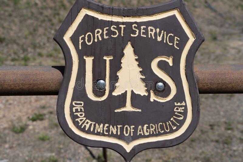 象征美国美国林业局的,政府机构徽章商标 免版税库存图片