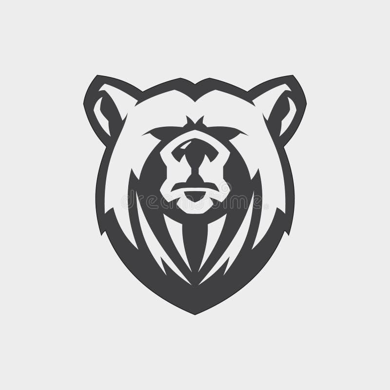 象征设计的熊顶头吉祥人传染媒介与颜色灰色 皇族释放例证