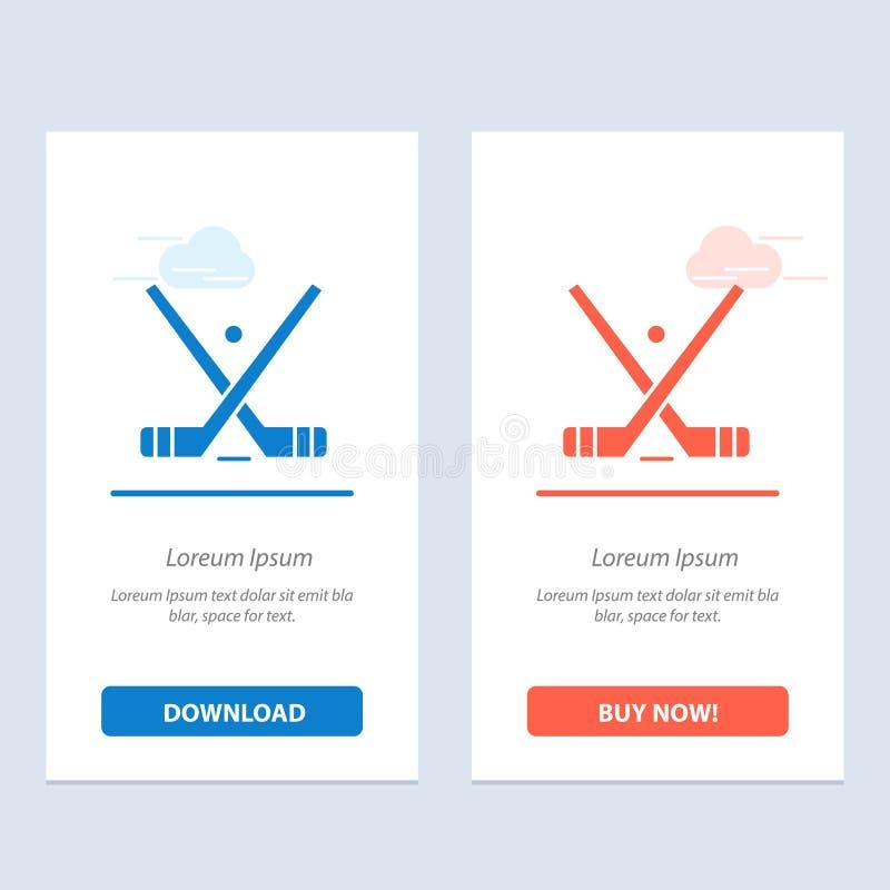 象征,曲棍球,冰,棍子,黏附蓝色和红色下载并且现在买网装饰物卡片模板 向量例证