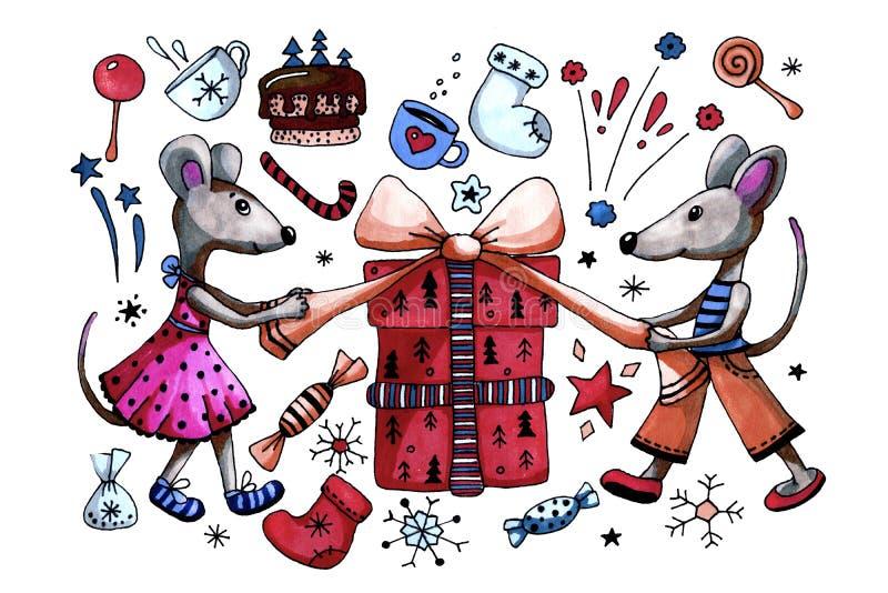 象征2020年大鼠,老鼠庆祝新年,并赠送礼物 带标记的卡通手绘图 用于设计 向量例证