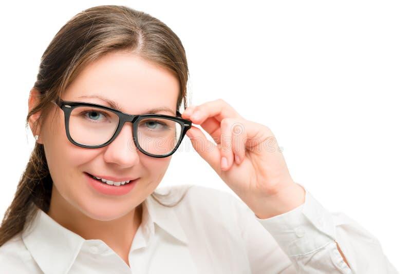 画象手秘书,拿着玻璃 免版税图库摄影