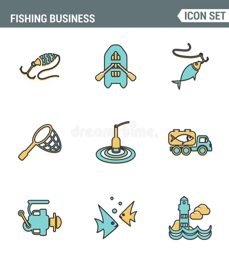 象排行渔企业运输鱼海鲜海的集合优质质量 现代图表收藏平的设计 向量例证