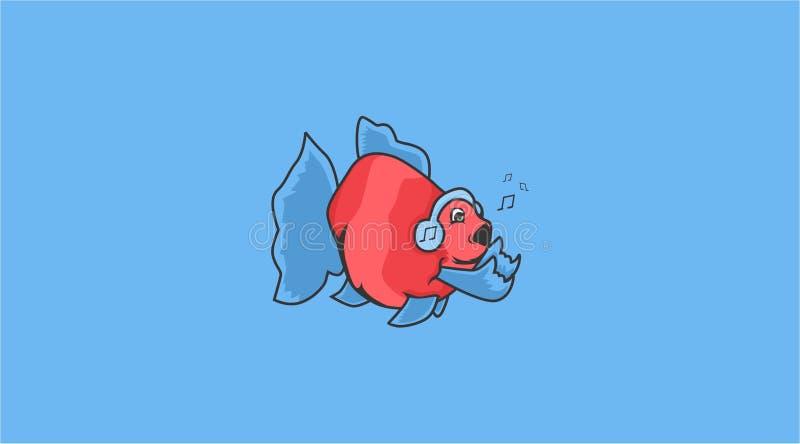 象摇滚音乐的金鱼 向量例证