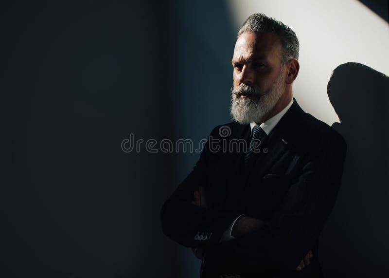 画象时髦有胡子人佩带时髦 库存图片