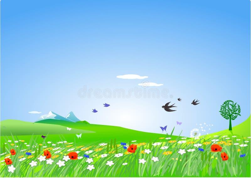 象春天的乡下 向量例证