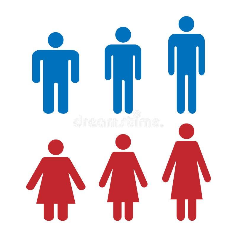 象是另外形状和重量男人和妇女 健康重量,肥胖和高个子 简单的平的象 库存例证