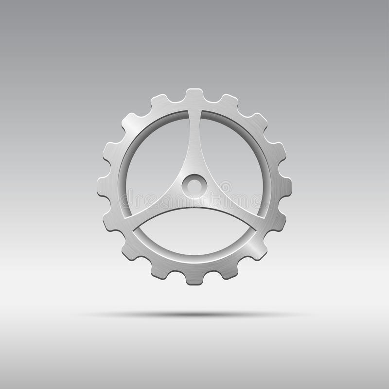 象有嵌齿轮和三轮幅的金属齿轮 向量例证