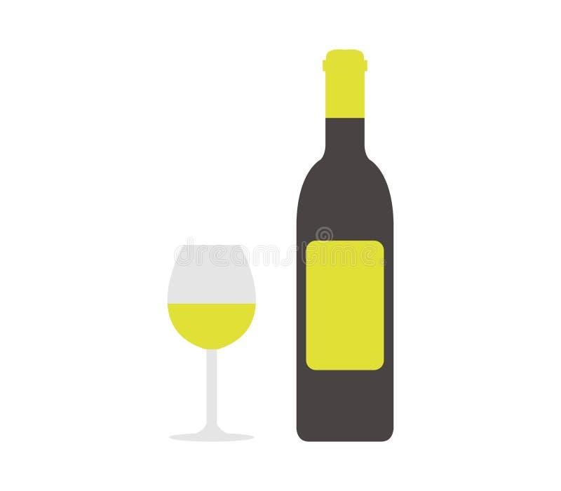 象有玻璃的被说明的酒瓶  向量例证