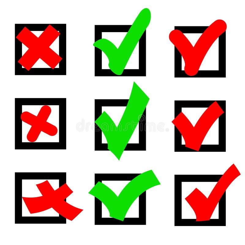 象标志绿色红色投赞成票的和不在一个方形框反对 向量例证