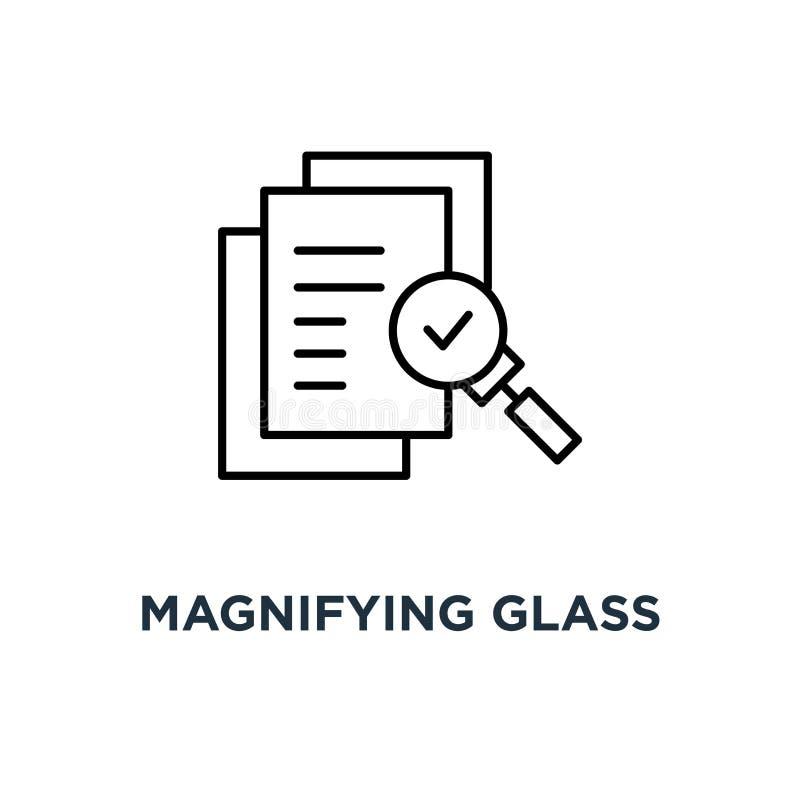 象检查的放大镜估计,审查计划象,标志核实服务批评过程和每年考试,样式 库存例证