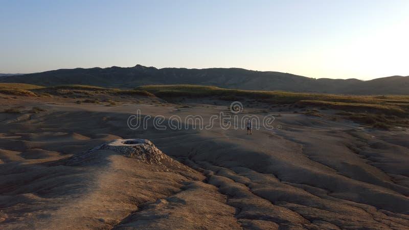 象泥火山创造的风景的月亮 免版税库存图片