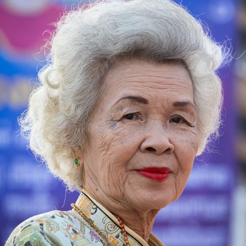 画象泰国老妇人 曼谷泰国 库存图片