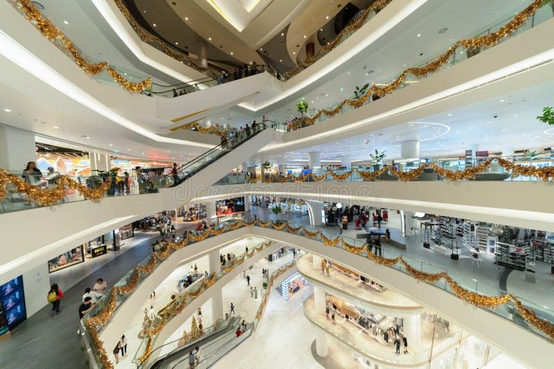 象泰国,现代大厦的广场购物中心在概念性建筑学结构,室内设计装饰 库存照片