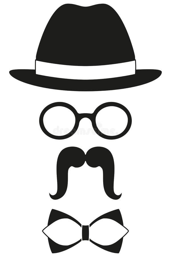 象海报人父亲爸爸天具体化元素集帽子玻璃髭蝶形领结剪影 库存例证