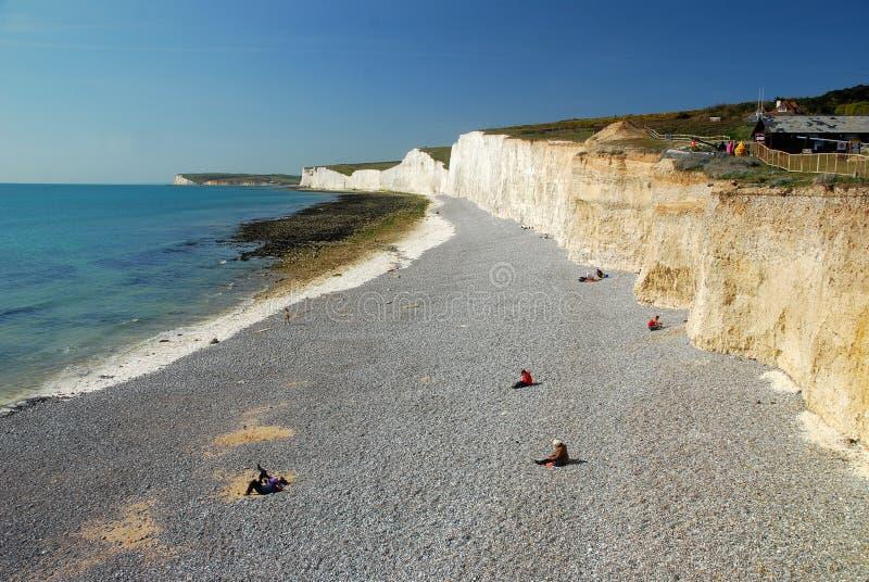 象海滨题头,南英国,英国空白峭壁  免版税库存照片