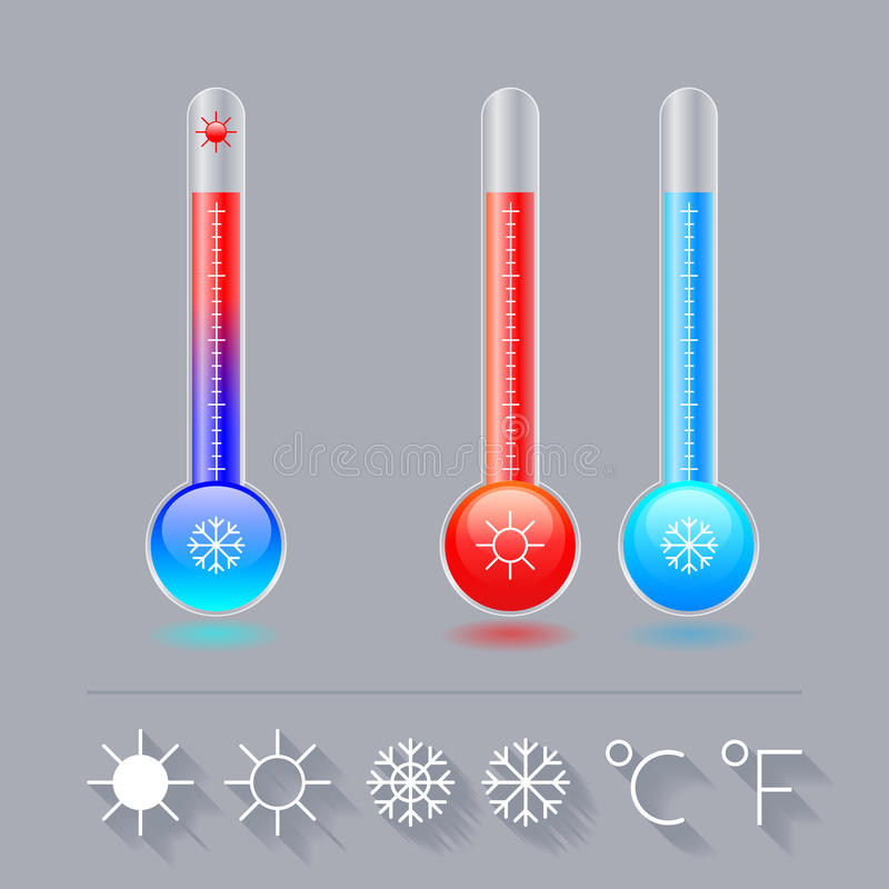象温度计集合,寒冷,热和太阳雪花、摄氏和华氏 向量例证