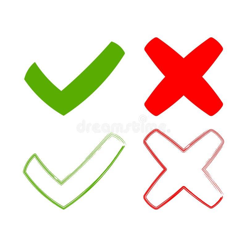 象滴答作响并且横渡,标志绿色检查号ok和红色x象 皇族释放例证